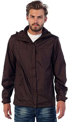 Gioberti Men's Waterproof Rain Jacket, Brown, S