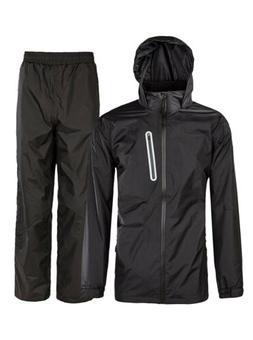 Men Waterproof Windproof Hooded Rainwear Rain Suit Heavy Dut