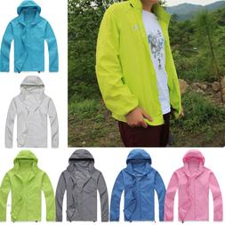 Mens Womens Waterproof Windproof Jacket Rain Coat Hooded Hoo