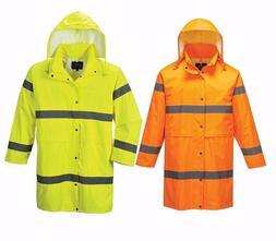 Mens Portwest Hi Vis Work Wear  Waterproof Hooded Long Rain