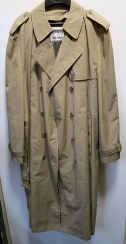 Mens Khaki London Fog Trench Raincoat, MADE IN USA, Size 44