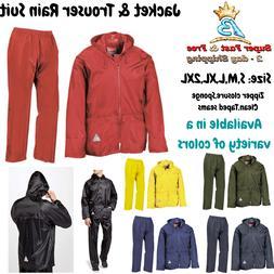 Mens Rain Coat Suit Zip Waterproof Hoodie Jacket Trouser Pai