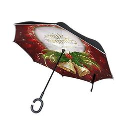 Ladninag Merry Christmas New Year Bell Red Inverted Umbrella