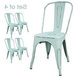 Devoko Metal Indoor-Outdoor Chairs Distressed Style Kitchen