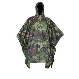 LOOGU Military Camouflage Rain Poncho for Outdoor Camping Hu