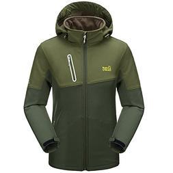 Men's Mountain Waterproof Fleece Ski Jacket Windproof Rain J