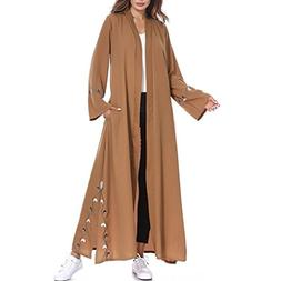 FEITONG Muslim Women Islamic Embroidered Cardigan Long Coat