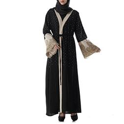 FEITONG Muslim Women Islamic Embroidered Diamond Long Coat R