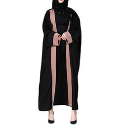 FEITONG Muslim Women Islamic Clothing Embroidered Splice Lon