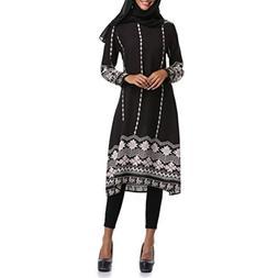 FEITONG Muslim Women Islamic Printed Loose Long Sleeves Plus