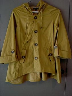 FOR CYNTHIA, MUSTARD, COTTON BLEND, RAINCOAT WITH HOOD