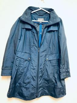 navy blue raincoat packable knee length sz