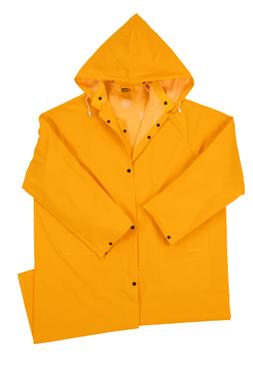 New 0.35mm PVC/Polyester Long Rain Coat w/ Detachable Hood r