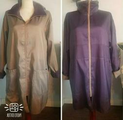 New MYCRA PAC NOW 1 S/M REVERSIBLE rain COAT jacket zip purp
