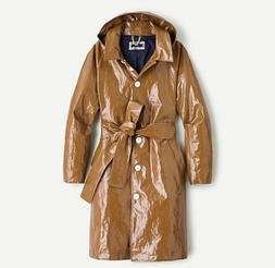 New $368 J Crew Collection Coated Linen Trench Coat Jacket M