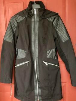 NEW Avanti Black Rain Jacket Coat Water Resistant Faux Leath