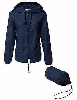 Meaneor NEW Blue Womens Size Medium M Hooded Solid Raincoat