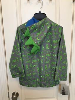 NEW Boy's London Fog Gray w/Green Dinosaurs Raincoat, Coat,