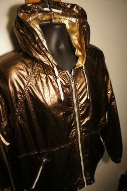 NEW BlankNYC Gold Foil Hooded Vintage Style Windbreaker Rain