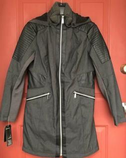 NEW Avanti Grey Blk Rain Jacket Coat Water Resistant Faux Le