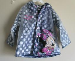 New  Disney Toddler Girls Minnie Mouse Blue Lined Raincoat S