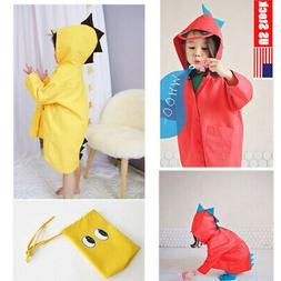New Kids Rain Coat Dinosaur Children Girls Boys Raincoat Wat
