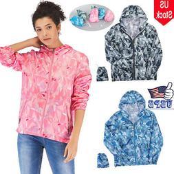 NEW Ladies Hooded Casual Windbreaker Zip Long Sleeves Waterp