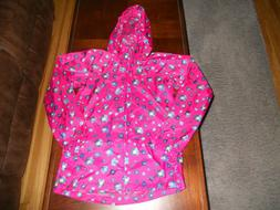 NEW Lands' End girls rain coat size L large 14 PACKABLE hood
