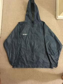 New Mens Medium Frogg Toggs Blue Rain Coat. Waterproof. Pack
