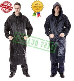 New Mens Waterproof Long Rain Coat PVC Wet Work Kagoul Jacke