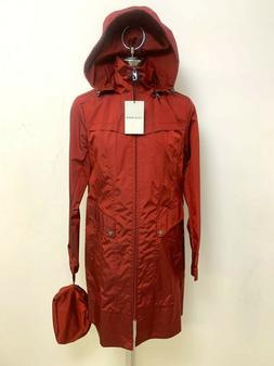 Cole Haan NEW NWT GARNET Hooded Zip Rain Coat Trench Women's