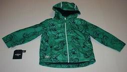 New OshKosh Boys 3T Raincoat Jacket Coat Green with Navy Din