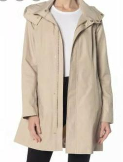 New COLE HAAN Packable Beige Raincoat with Hidden Hood Size