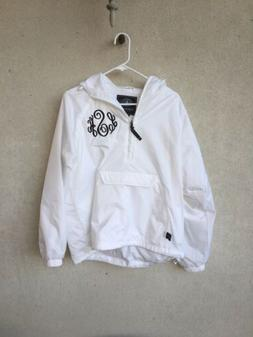 new small white monogrammed rain jacket coat