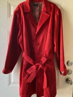 New Spense Womens Rain Trench Coat 3X Bright Red Snake Patte