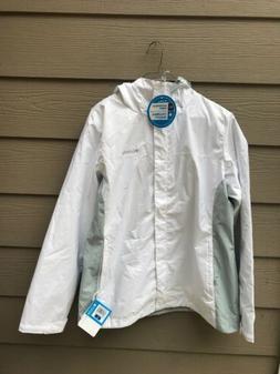 new woman s hooded rain jacket white