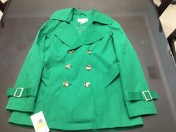 New Michael Kors Women's Rain Coat Small Emerald Green Det