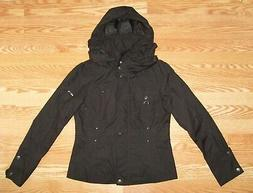 New Womens S Small COLE HAAN Packable Hood Hooded Black Rain