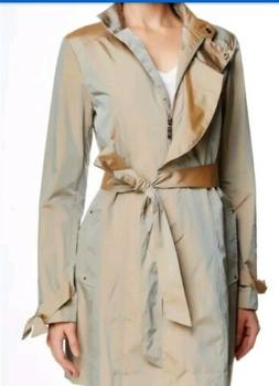 New! Cole Haan Womens Tie Waist Coat Black Rain Coat Size Me