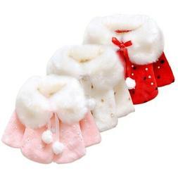 Newborn Baby Princess Warm Hooded Coat Girls Fur Outerwear B