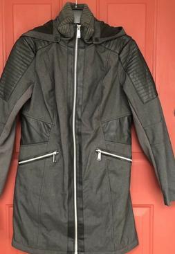 NWOT Avanti Grey Blk Rain Jacket Coat Water Resistant Faux L