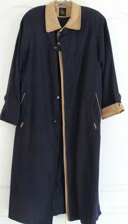 NWOT Luba Navy Tan Multi Ankle-length Front Button Raincoat