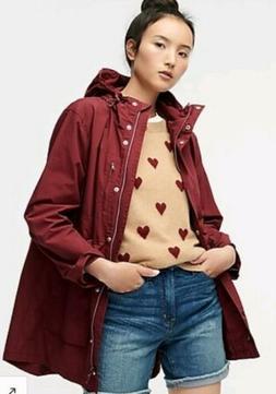 NWT J Crew Perfect Rain Jacket Sz XS Vtg Burgundy $120 Blogg