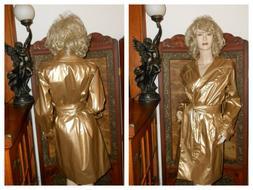 NWT L Shiny Gold vinyl raincoat PVC rain jacket rain slicker
