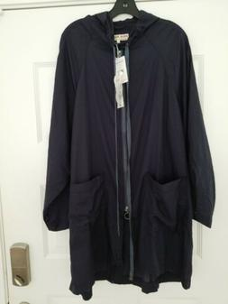 Free People NWT Packable Rain Jacket Coat Navy Ink $98 Small