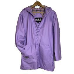 NWT TOTES Rain Jacket Coat Girls' Size L  Hood Purple Vinyl