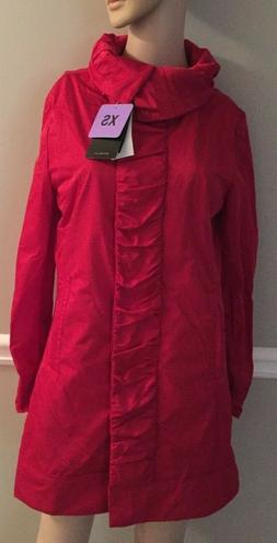 NWT RAINFOREST Womens Ruched Front Rain Jacket/Coat WITH Hid