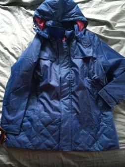 nwt TOTES womens L Rain Coat blue hooded full zip pockets ja