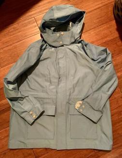 NWT Women's Lands End Windbreaker Hooded Rain Coat Blue Ja
