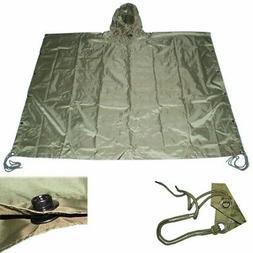 OD GREEN Nylon Military USMC Style All Weather Poncho Rain C